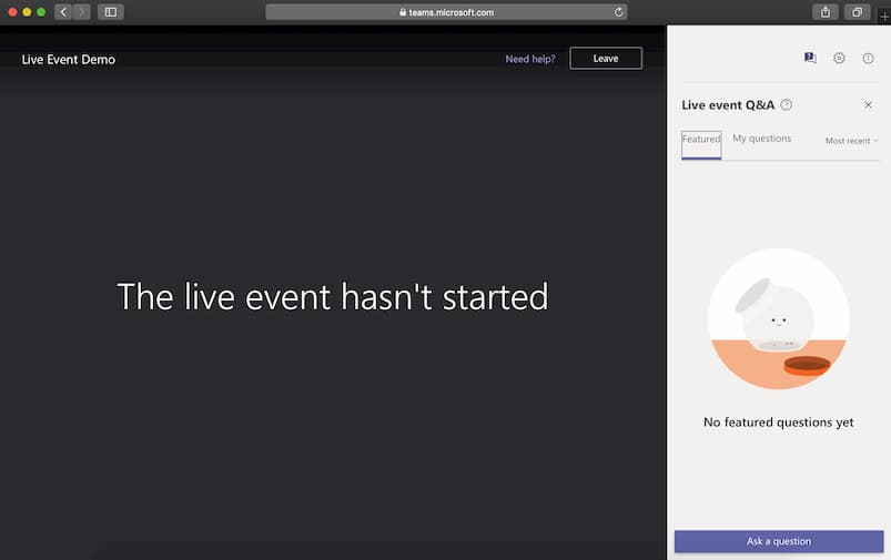 The live event hasn't started welcome screen